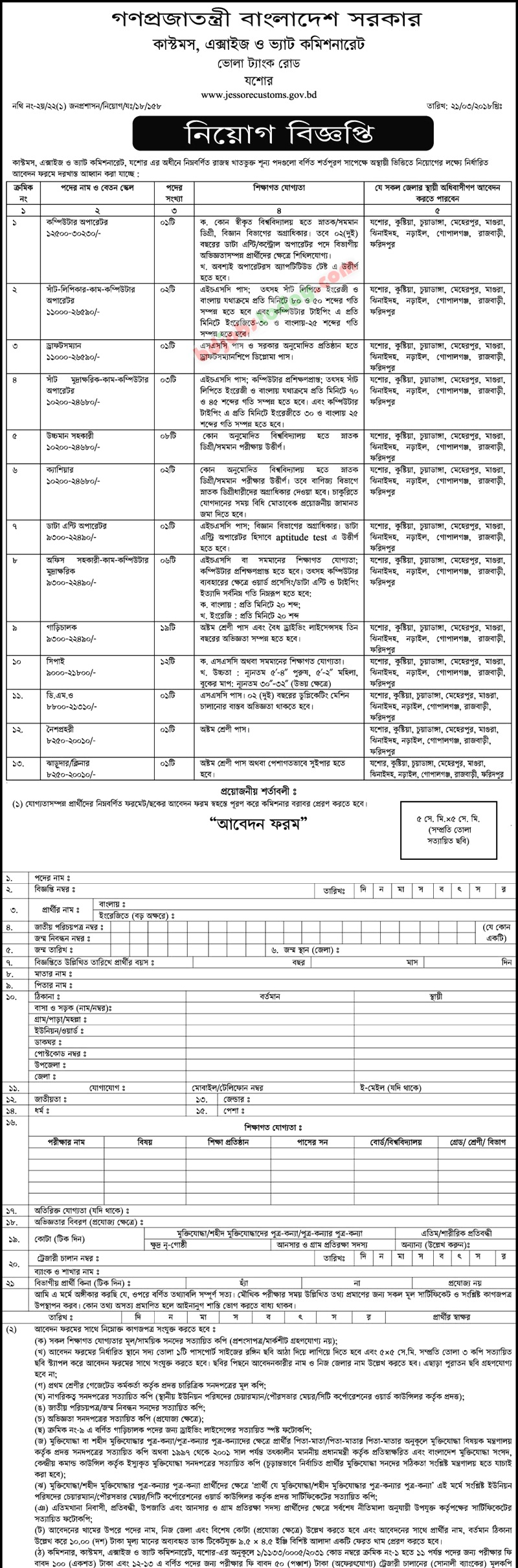 Customs, Excise & VAT Commissionerate jobs
