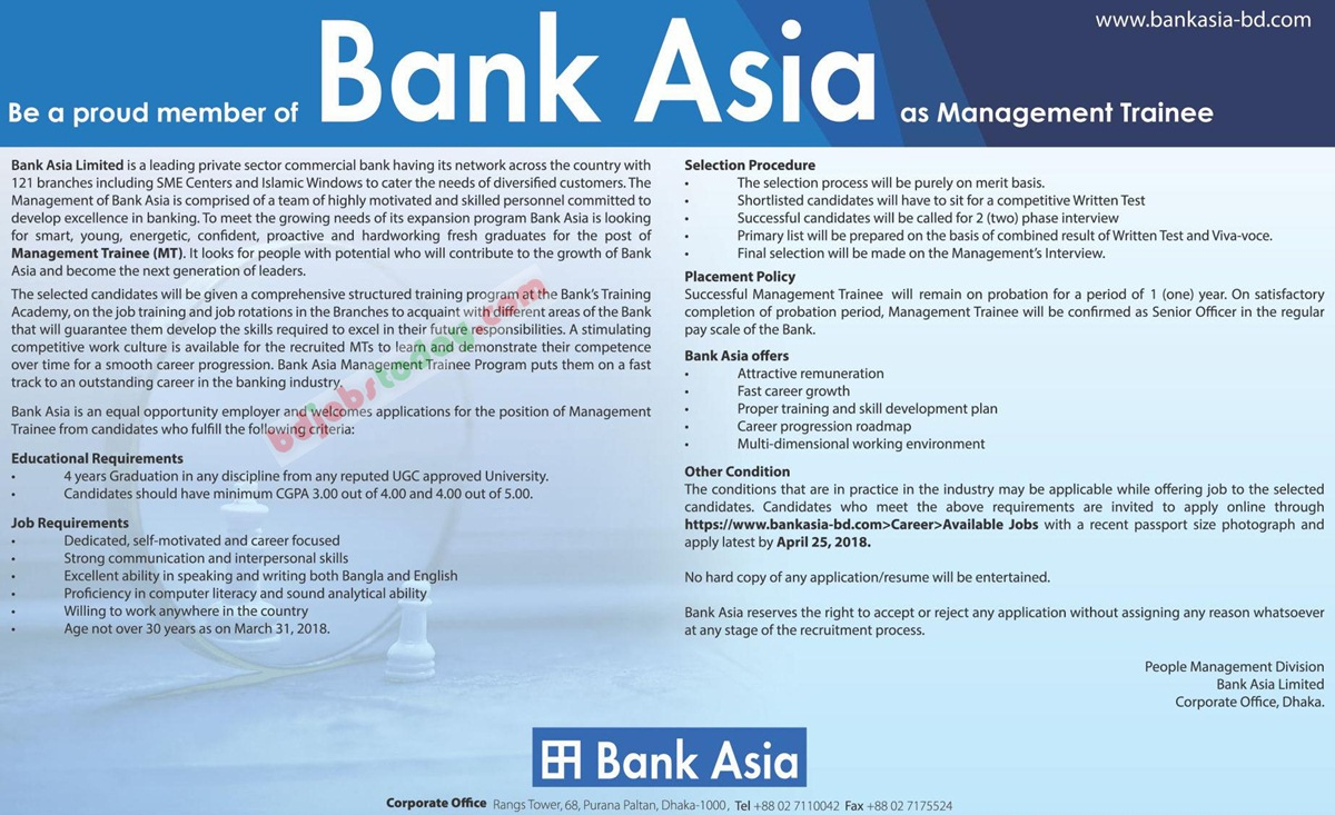Bank Asia Limited jobs