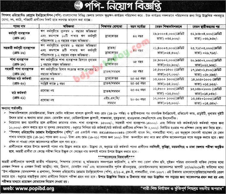 Peoples Oriented Program Implementation (POPI) jobs