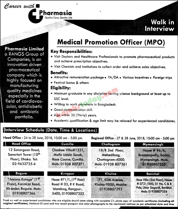 Pharmasia Limited jobs