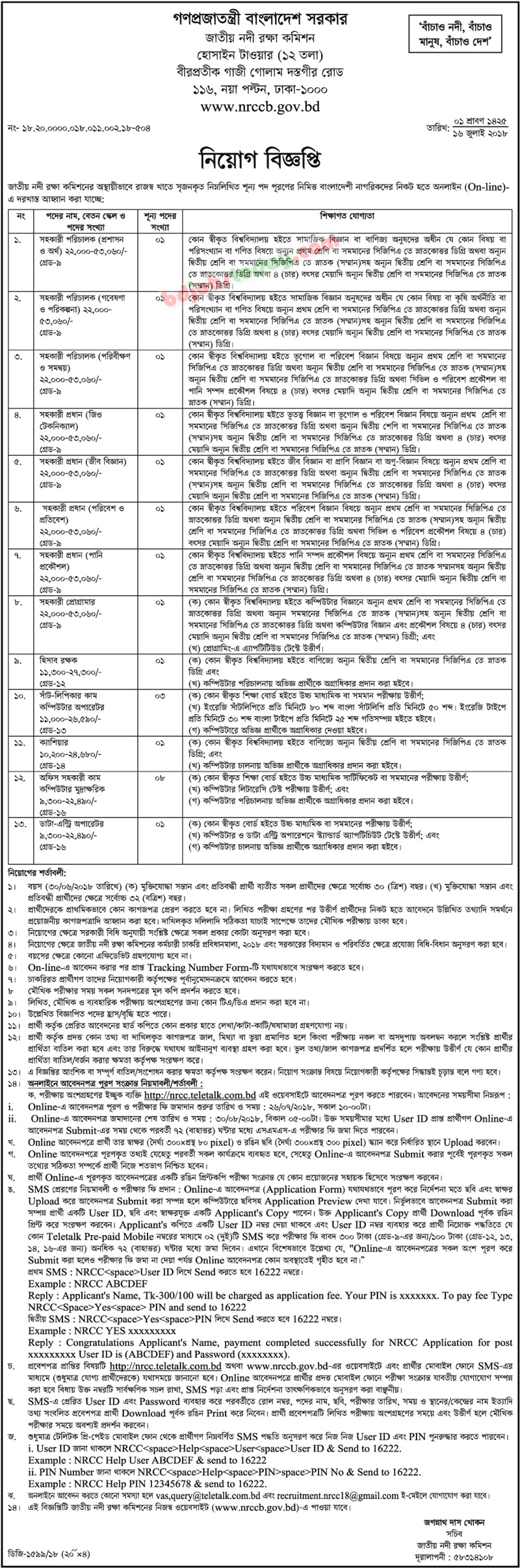 National River Conservation Commission, Bangladesh jobs