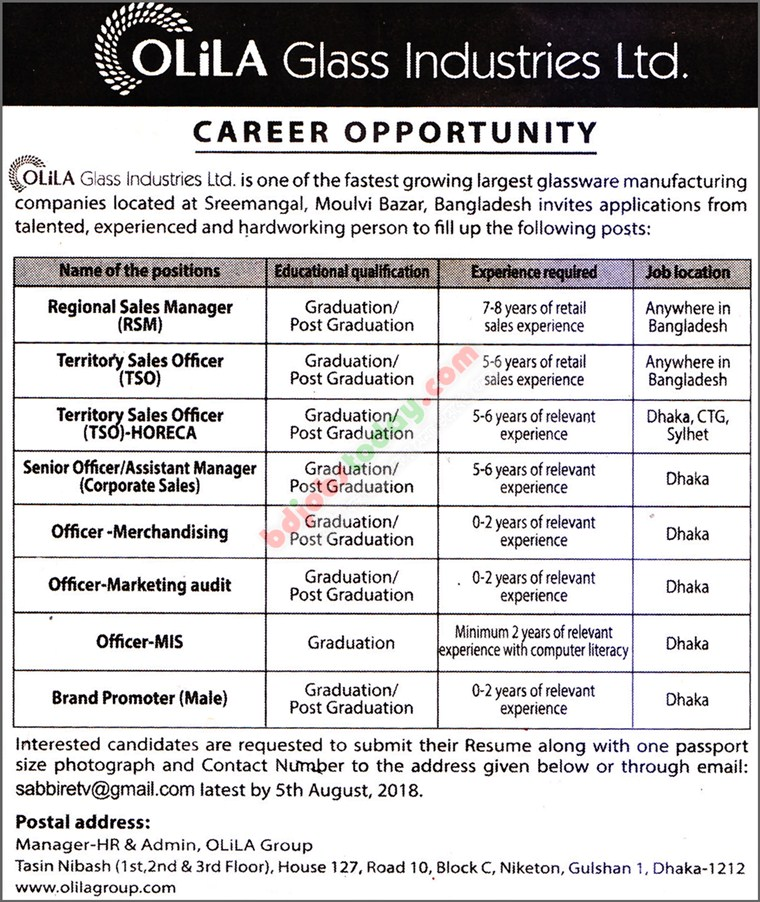 Olila Glass Industries Ltd. jobs