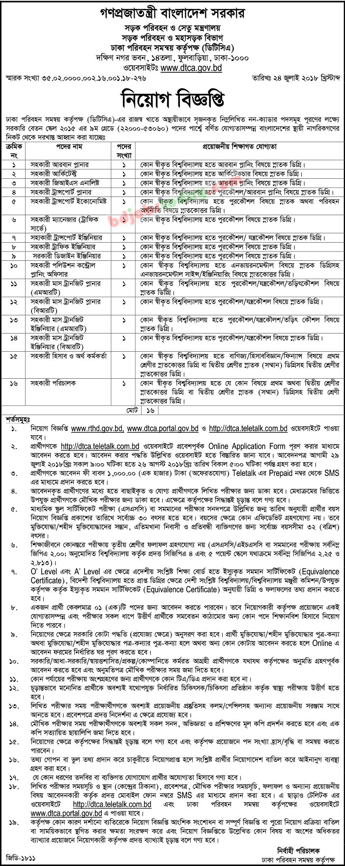 Dhaka Transport Coordination Authority-DTCA jobs