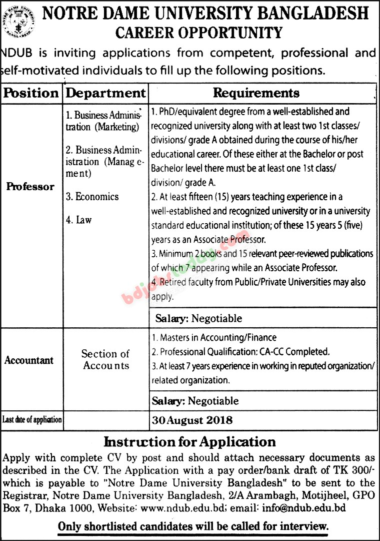 Notre Dame University Bangladesh jobs