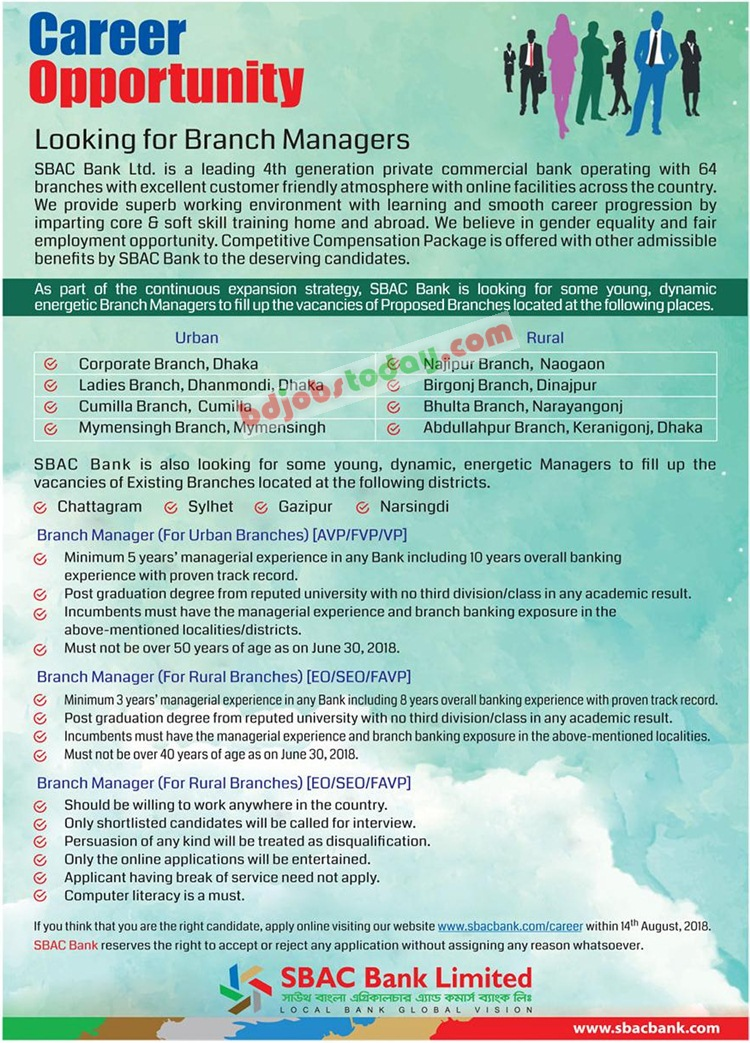 South Bangla Agricultural and Commerce Bank Limited jobs