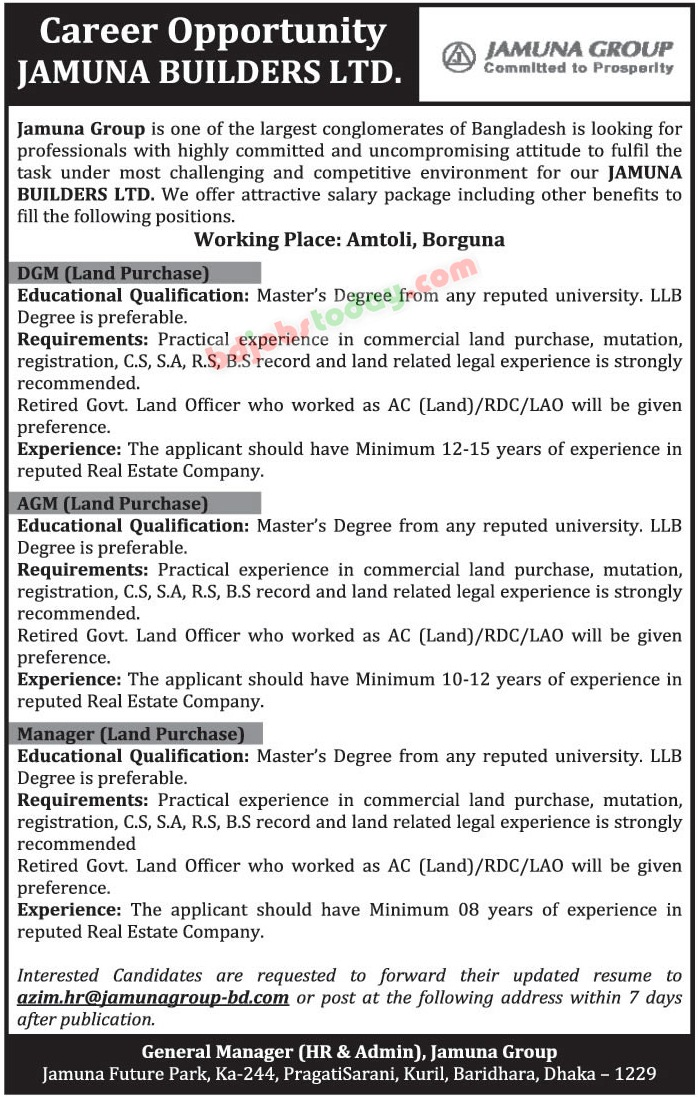 Jamuna Builders Limited jobs