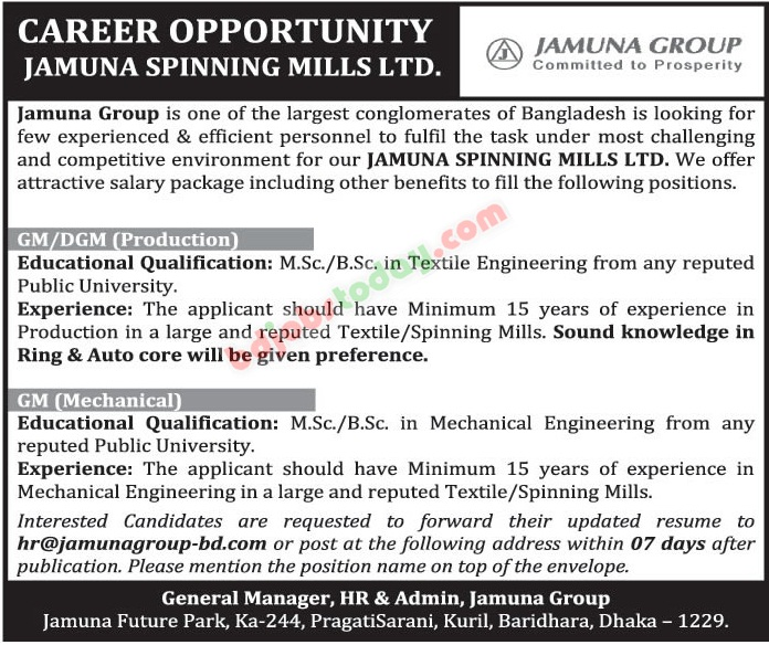Jamuna Spinning Mills Ltd jobs