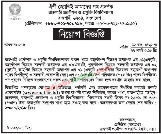 Rajshahi University of Engineering and Technology -RUET jobs