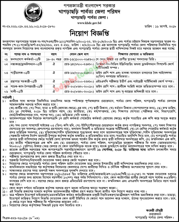 Khagrachari Hill District Council jobs