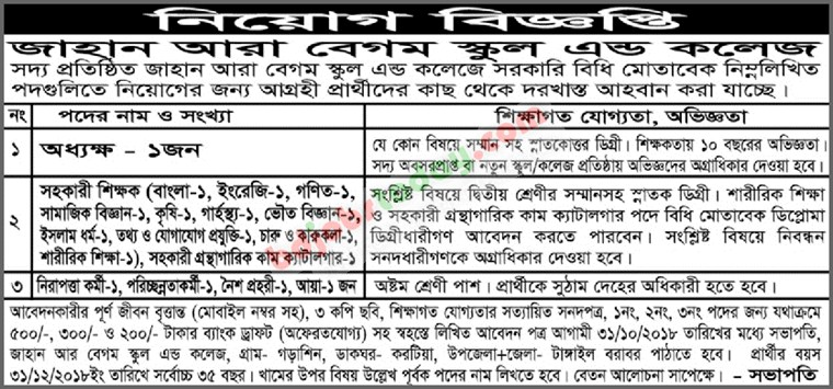 Jahan Ara Begum School and College jobs