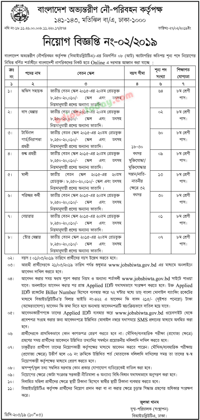Bangladesh Inland Water Transport Authority (BIWTA),